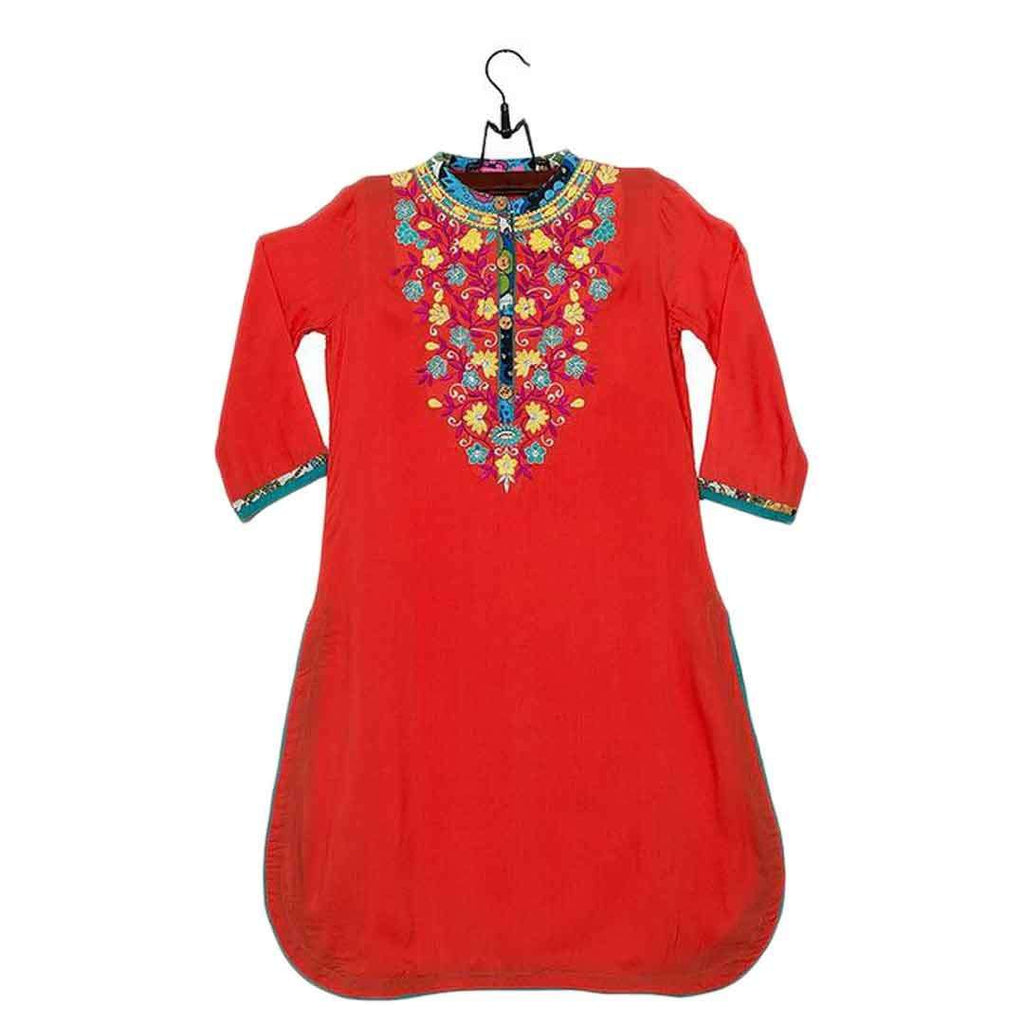 Amaze Collection Red Malai Lawn Embroidered Kurta for Girls