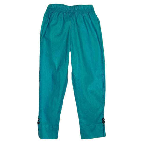Sea Green Cotton Trousers for Girls