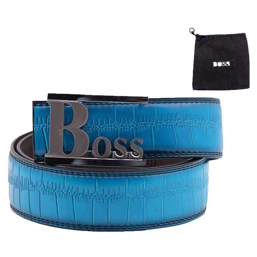 Blue Leather Mens Belt