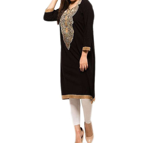 Women's Kurta with Front Heavy Embriodery Black
