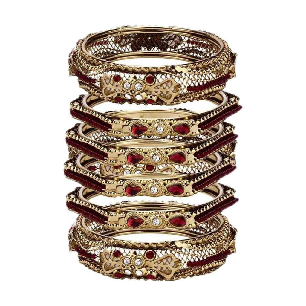 Bronze Steel Bangles With Red Stone Diamonds