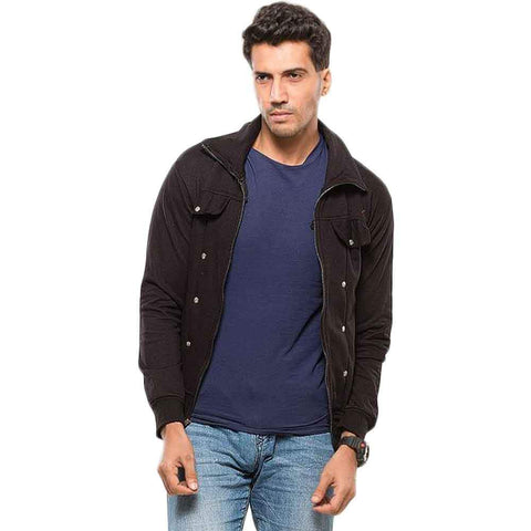 Buysense Black Cotton & Fleece Trendy Jacket for Men