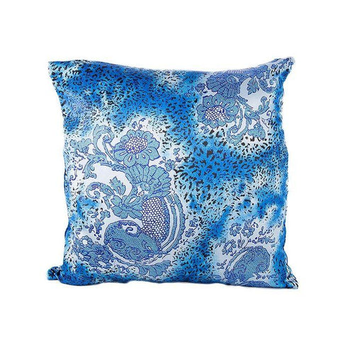 Blue Printed Silk Coshion Cover