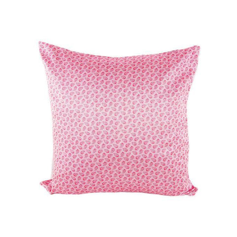 Pink Leaves Print Silk Cushion Cover