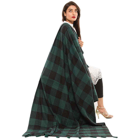 Women's Green Cotton Chamois Shawl 44X80
