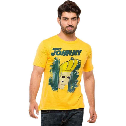 Yellow Cotton Johny Bravo Men's T-Shirt