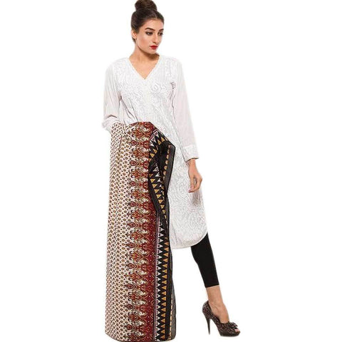 Women's Swiss Lawn Brown & Black Printed Duppata