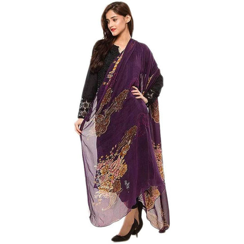 Women's Swiss Lawn Purple Floral Print Duppata
