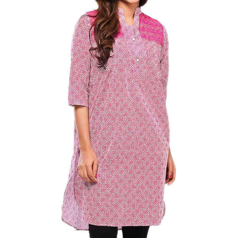 Pink Lawn Printed Kurti for Women