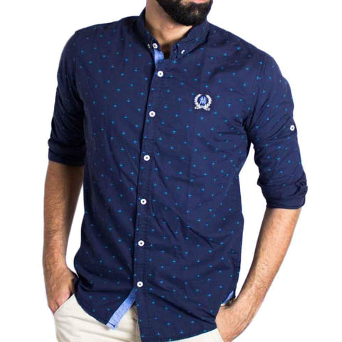 Blue Anchor Print Shirt for Men