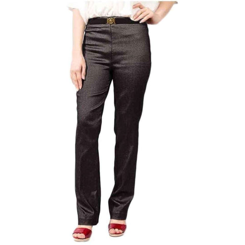 Black Cotton Elegant Style Straight Pant For Women
