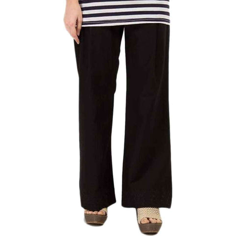 Black Cotton Embroidered Palazzo Pants For Women