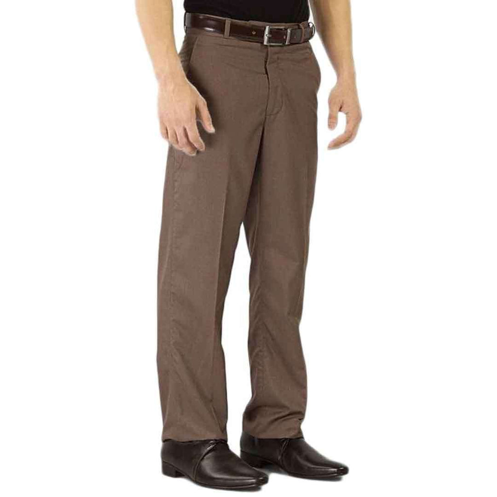 Coffee Brown Cotton Formal Dress Pants For Men