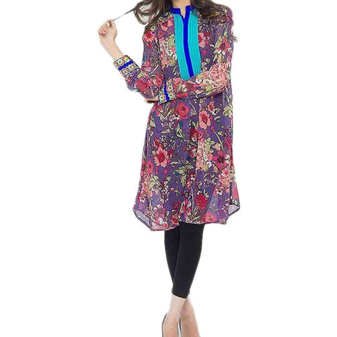 Fashion Café Multi Color Malai Lawn Arrow Bottom With Front Aari Look Embroidery Kurta For Women