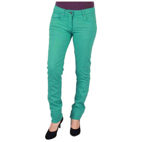 Fashion Café Persian Green Stretch Denim Casual Jeans