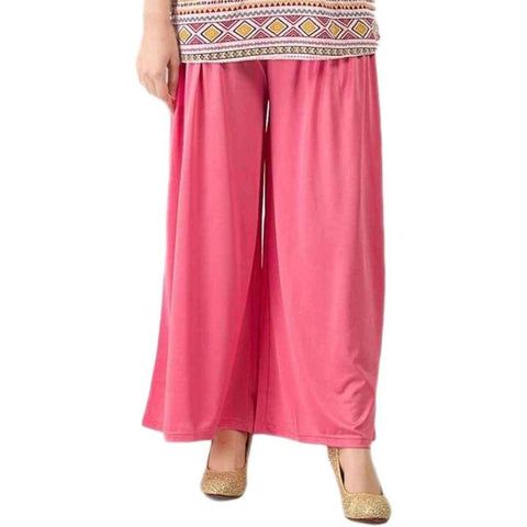 Fashion Café Pink Jersey Pleated Palazzo Pants For Women