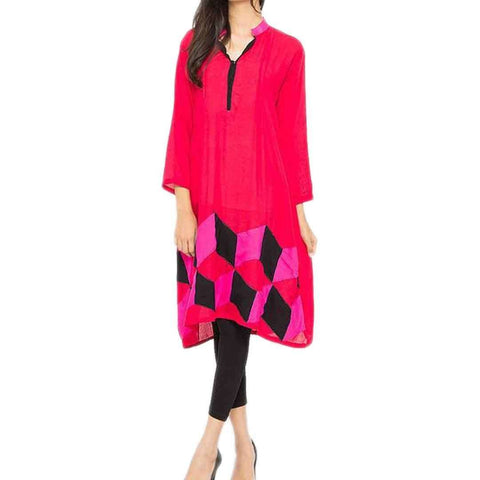 Fashion Café Red Malai Lawn Women's Kurta with Front Pleats & Embroidery