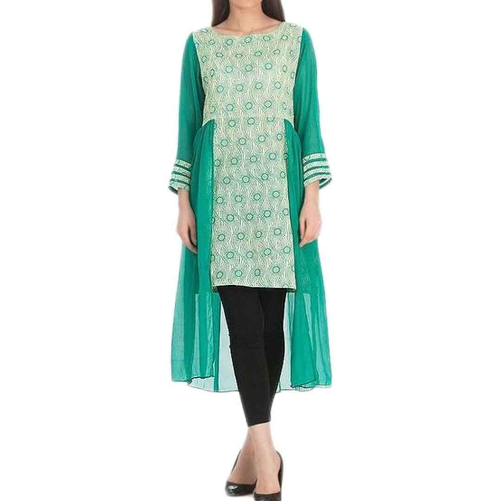 Fashion Café Sea Green Lawn Printed Kurta with Chiffon Outer Layer for Women  13925