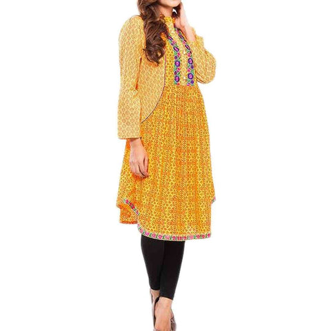Fashion Café Yellow Cotton Printed Kurta for Women