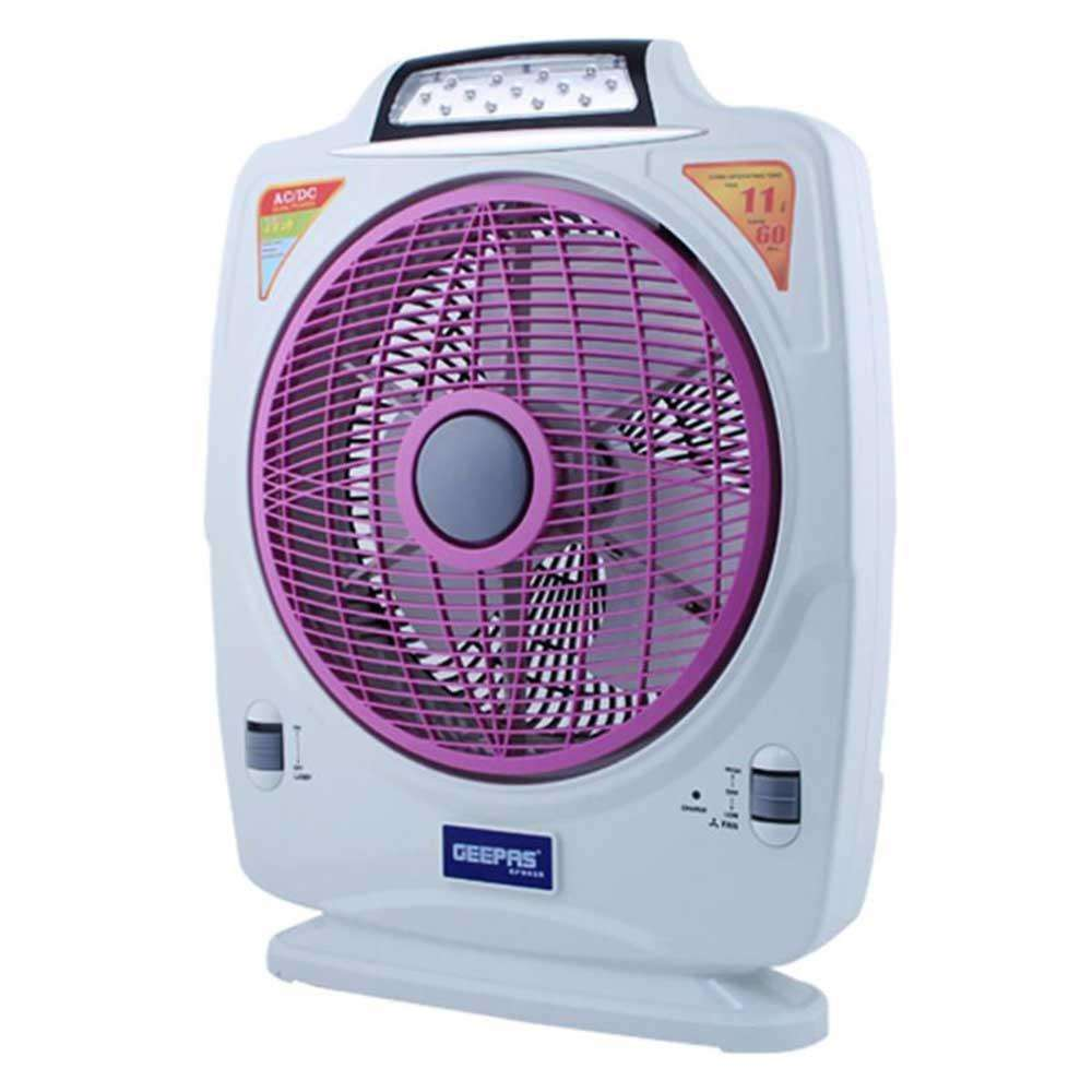 Geepas Rechargeable Fan with LED light - White (Brand Warranty)