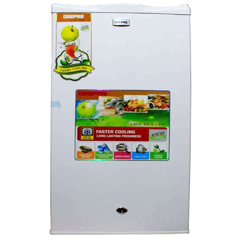 Geepas Single Door Fridge & Mini Refrigerator - White