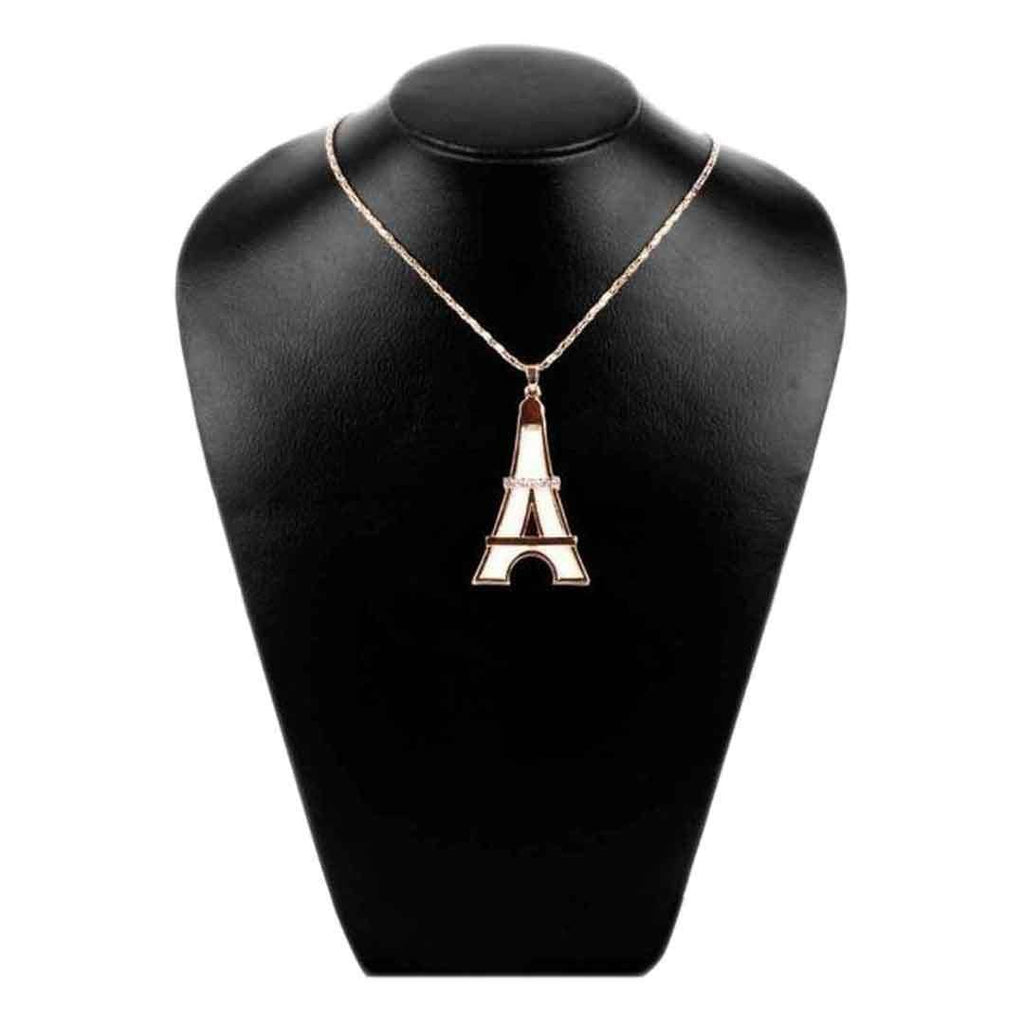 Golden & White Eiffel Tower Shaped Stylish Pendant With Chain