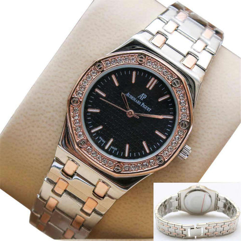 Gold & Silver Ladies Wrist Watch Black Dial