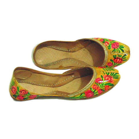 Yellow Hand Painted Khussa For Women