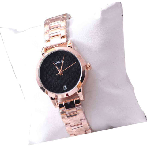 Women's Wrist Watch Rose Gold With Black Dial