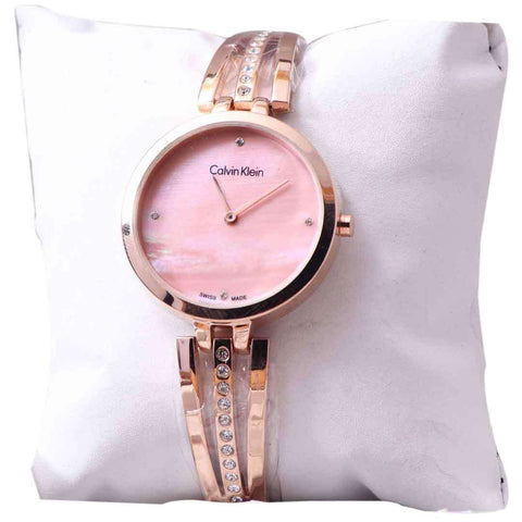 Rose Gold Women's Stylish Wirst Watch With Pink Dial