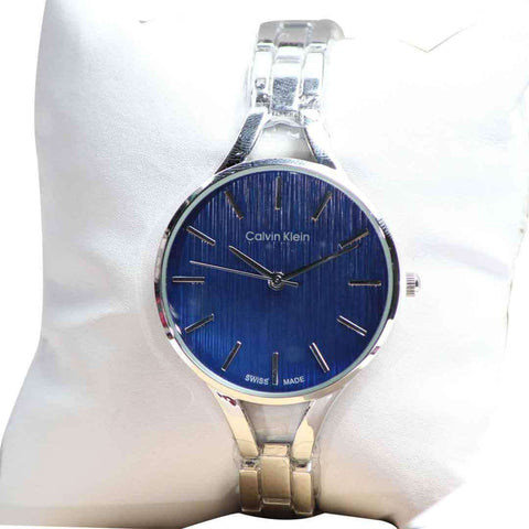 Ladies Wrist Watch Silver With Blue Dial