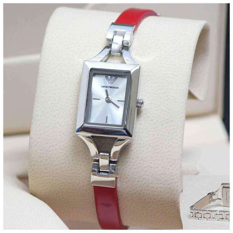 Women's Red & Silver Square Dial Wrist Watch