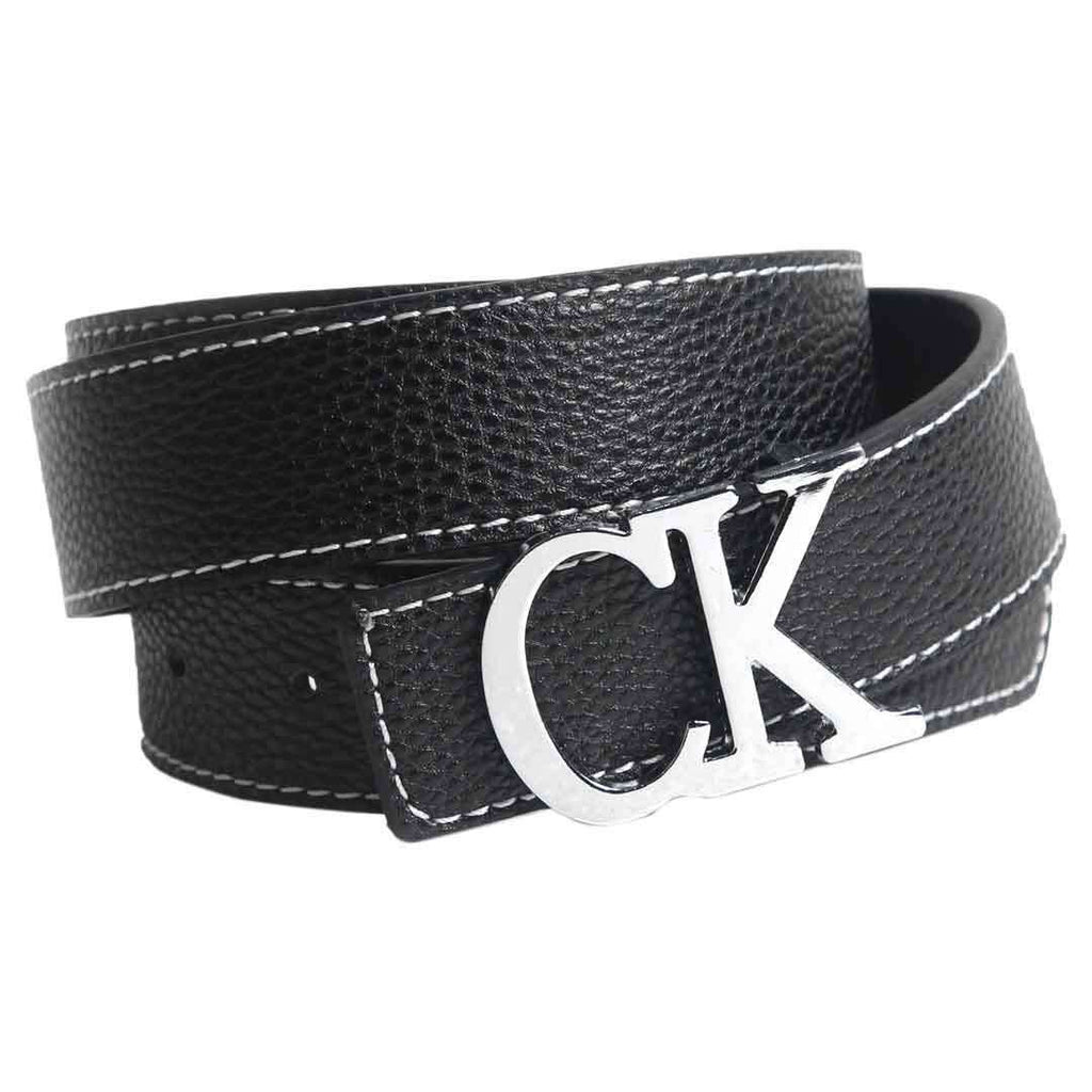 lack Leather CK logo Belt for Men's