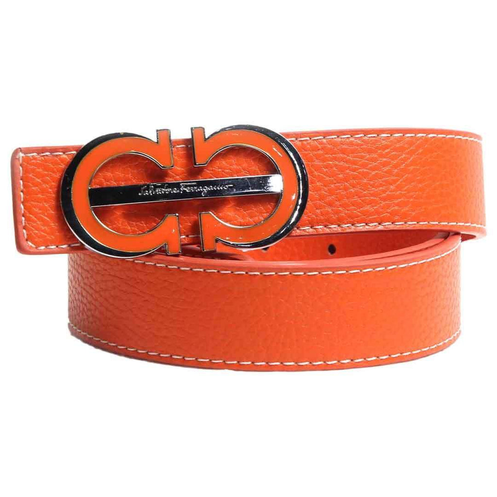 FR Orange Leather with Logo Belt for Men's