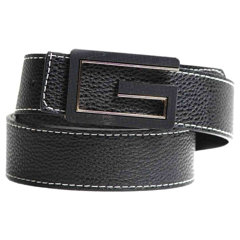 Stylish Black Leather with G Logo Belt for Men's