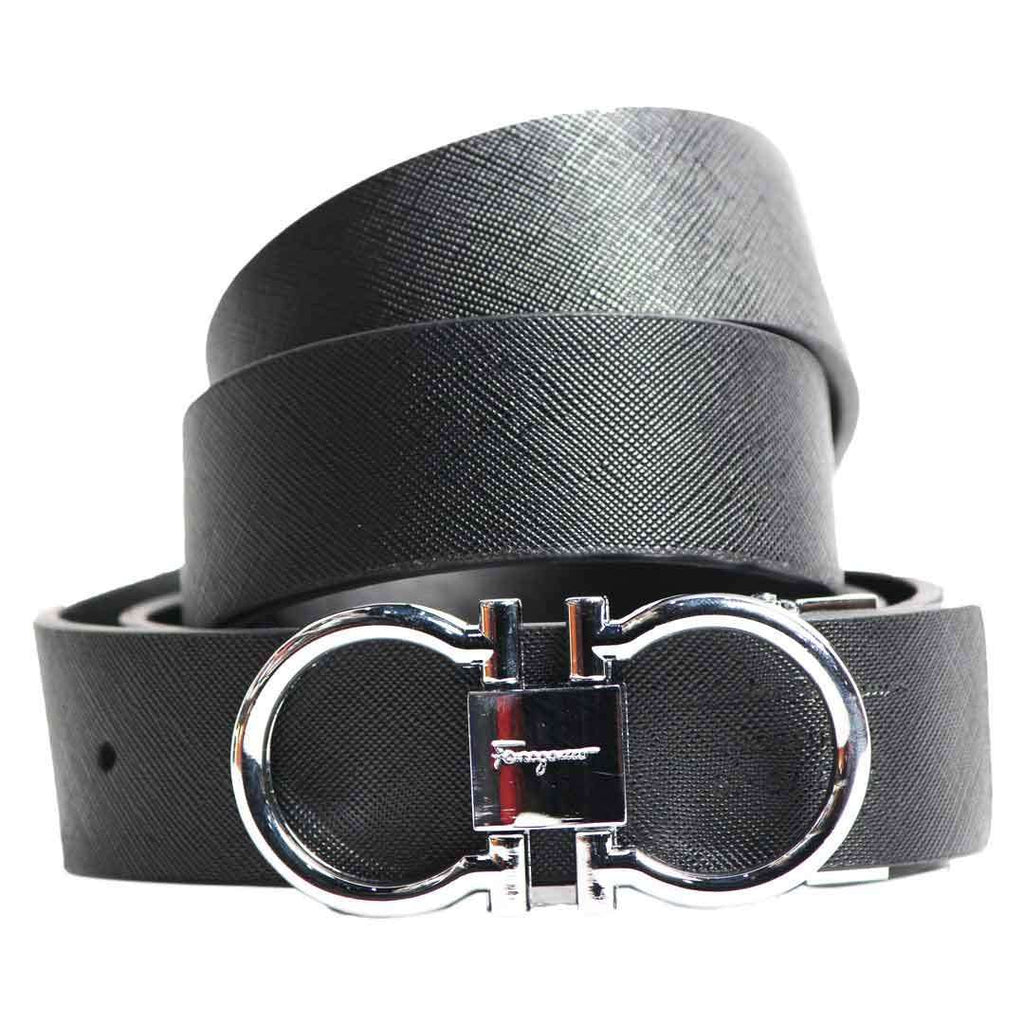 Black Leather Stylish Belt for Men's