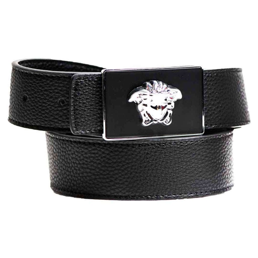 Black and Silver Leather Belt with Buckel for Men's