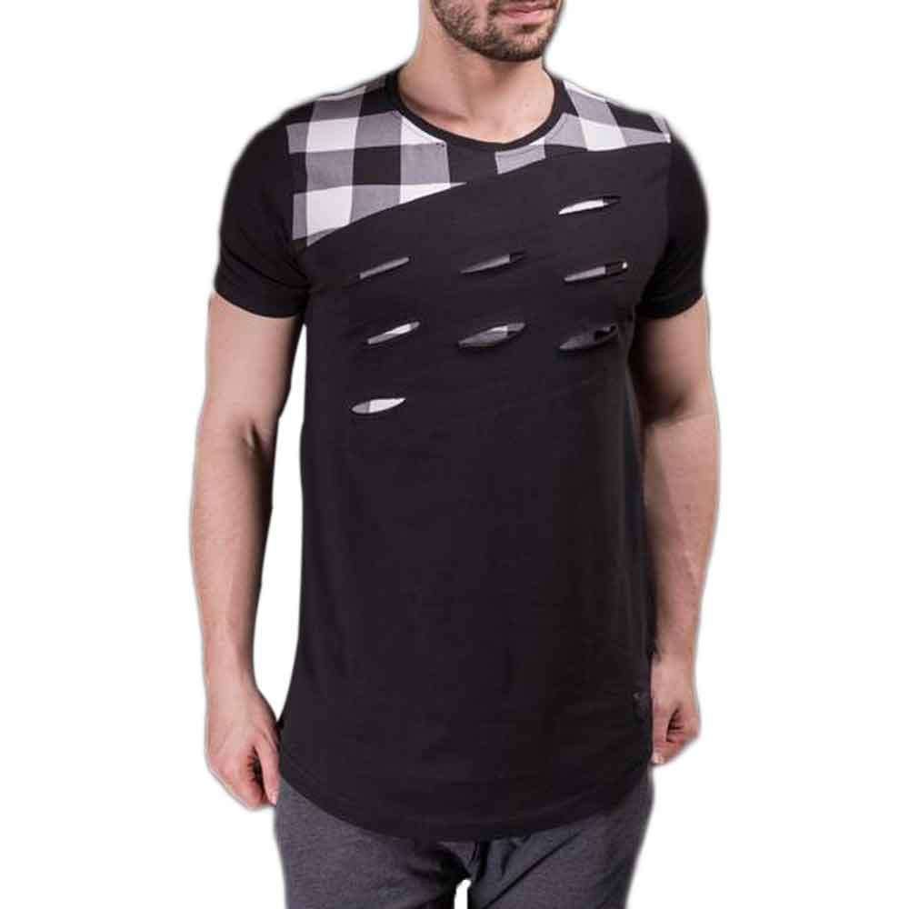 Black and Grey Check T-Shirt For Men