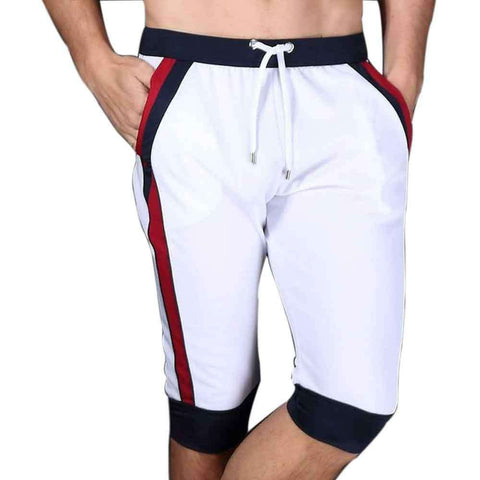 Men's White Panel Bermuda Shorts
