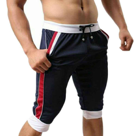 Men's Navy Blue Panel Bermuda Shorts
