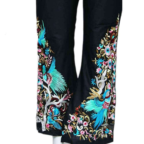 Black Embroidery Bootcut Trouser