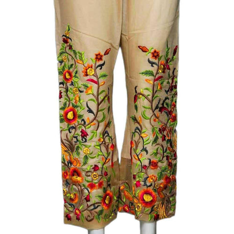 Biege Embroidery Bootcut Trouser