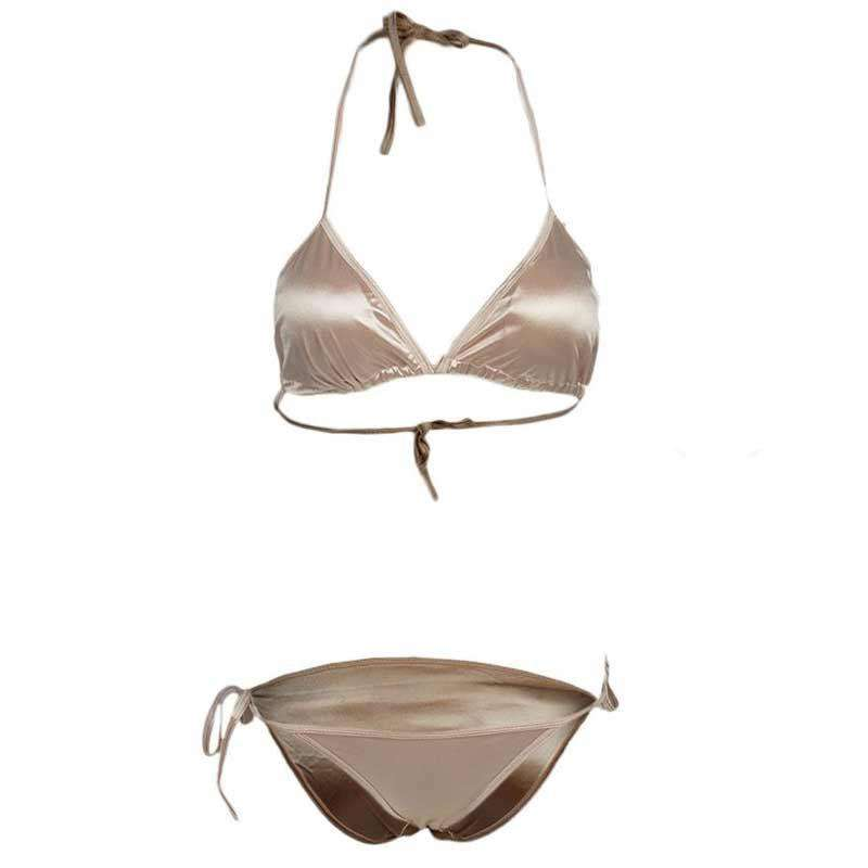 Satin Silk Brown Bikini Set for Ladies
