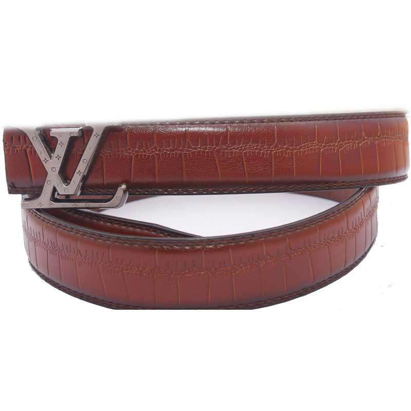Mens Brown LV Belt Leather