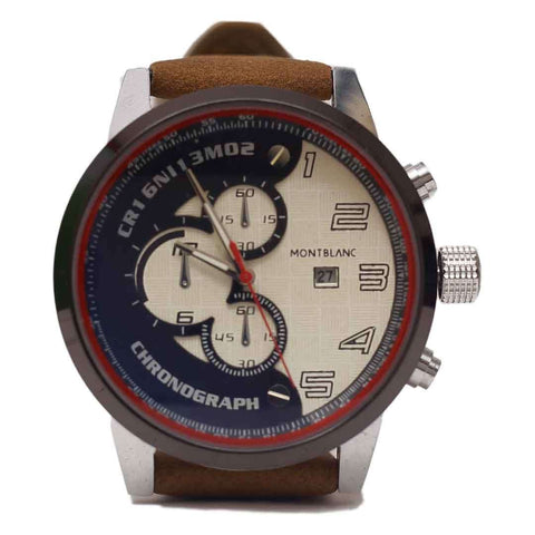 Mont Blanc Chronograph With White & Blue Dial Log Watch