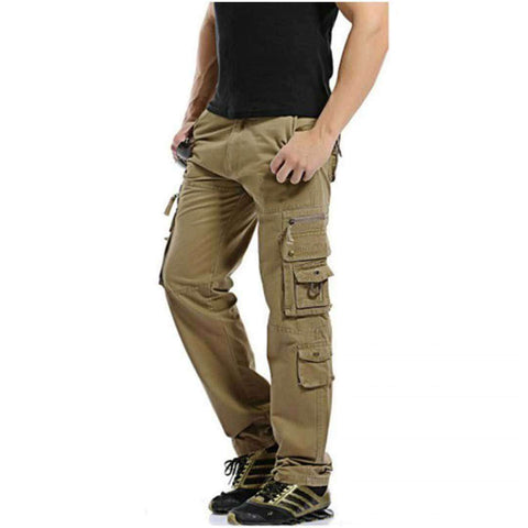 Men's Camel Brown 8 Pocket Cargo Pants