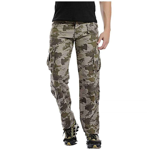 Men's 8 Pockets Green Camo Pants