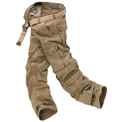 Men's 8 Pocket Camel Brown Cargo Pants