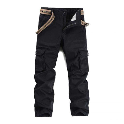 Men's 6 Pocket Black Cargo pants With Belt