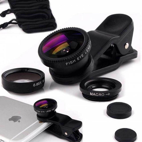 3 In 1 Fisheye Lens Microscope Mobile Phone Clip Lenses
